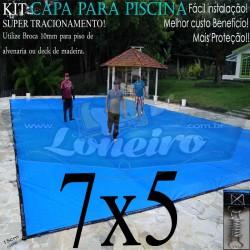 Capa para Piscina de Proteção e Cobertura Super Lona 7 x 5m PP/PE com +60m+60p+3b