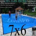Capa para Piscina de Proteção e Cobertura Super Lona 7 x 6m PP/PE com +52m+52p+3b