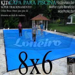 Capa para Piscina de Proteção e Cobertura Super Lona 8 x 6m PP/PE com +56m+56p+4b