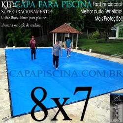 Capa para Piscina de Proteção e Cobertura Super Lona 8 x 7m PP/PE com +76m+76p+5b