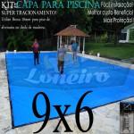 Capa para Piscina de Proteção e Cobertura Super Lona 9 x 6m PP/PE com +60m+60p+4b