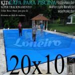 Capa para Piscina de Proteção e Cobertura Super Lona 20 x 10m PP/PE com +140m+140p+Catracas